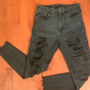 High Waisted Zara Ripped Black Skinny Jeans